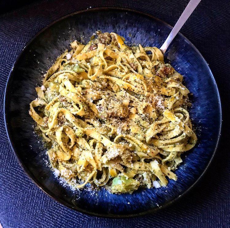 creamy pasta recipe, pesto pasta with nduja, basil and nduja tagliatelle, quick and easy pasta ideas