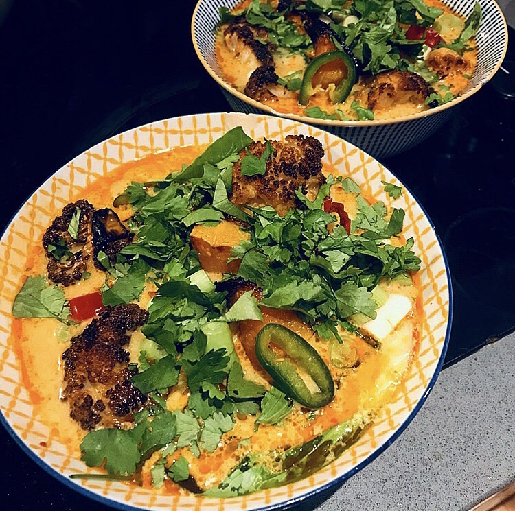 vegetarian laska recipe, sweet potato and cauliflower thai soup